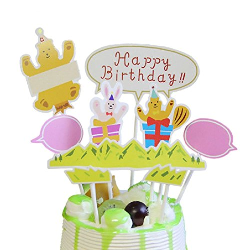 Happy Birthday Cupcake Topper Cake Flags Baby Shower Kids Party DIY ()