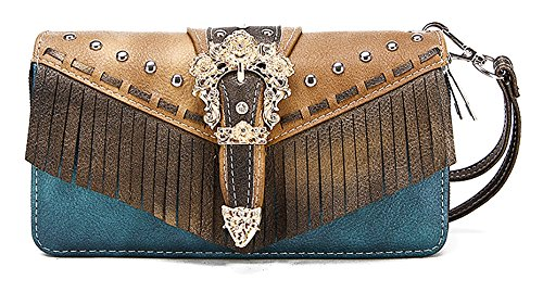 Western Accessories (Western Handbag - Gold Buckle Stud Accented with front Fringe Décor Traditional Two-Toned Wallet)