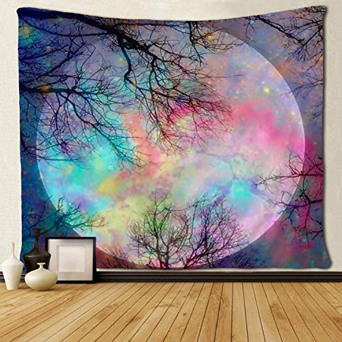 - SARA NELL Wall Tapestry Tree Rainbow Moon Galaxy Starry Sky Milky Way Tapestries Hippie Art Wall Hanging Throw Tablecloth 50X60 Inches for Bedroom Living Room Dorm Room
