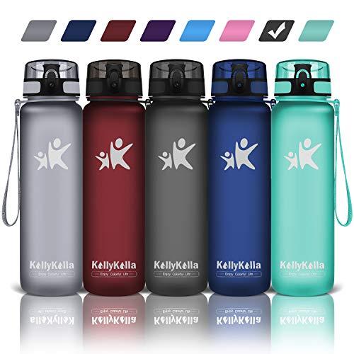 KollyKolla Sports Water Bottles 32 oz,27oz,17oz,12oz,Reusable Plastic Water Bottle with Time Marker and Filter, BPA Free Tritan Kids Water Bottle for Gym, Bike, Yoga, Running(800ml Matte Black)