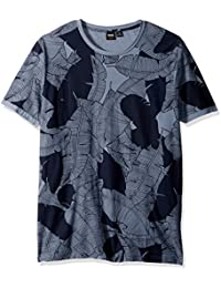 BOSS Orange Men's Allover Banana Leaf Printed Cotton Graphic Tee