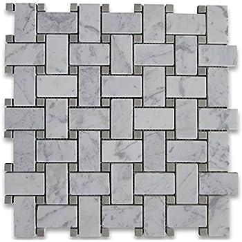 Carrara White Italian Carrera Marble Basketweave Mosaic Tile Gray - Carrara basketweave tile gray dot