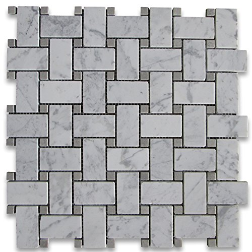 Carrara White Italian Carrera Marble Basketweave Mosaic Tile w/Light Gray Dots 1 x 2 Honed