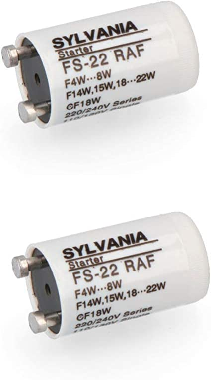 1x Sylvania 0024435 FS-22 Motor de arranque F4W 8W 4-22 Vatios CF18W L/ámparas fluorescentes L/ámparas de ne/ón FS Universal Starters