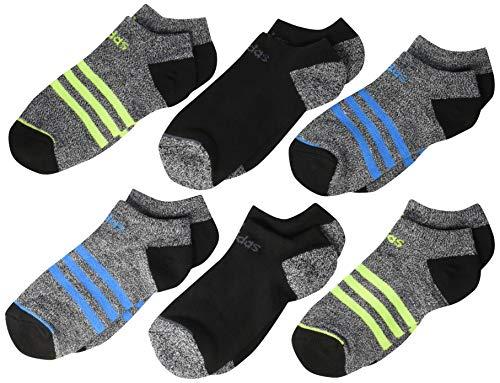 adidas Kids' - Boys/Girls 3-Stripe No Show Socks (6-Pair), Black - White Marl/Black/Shock Cyan Blue/Solar Slime, 3Y-9