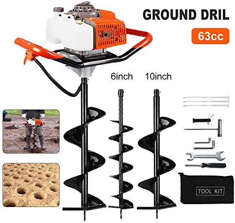 [해외]ECO LLC 63CC Gas Powered Post Hole DiggerTWO Earth Auger Drill Bit 6 & 10 / ECO LLC 63CC Gas Powered Post Hole DiggerTWO Earth Auger Drill Bit 6 & 10