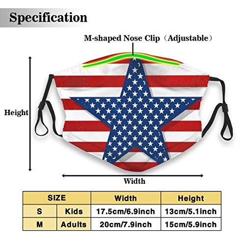 USA Patriotic American Flag Stars Stripes Anti Dust Pollution Outdoor Mouth Mask with Replaceable Carbon Filter Adjustable Ear Loops, Protection Warm Windproof Face Masks