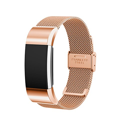 Price comparison product image Band for Fitbit Charge 2; Mosunx Milanese Stainless Steel Quick Install Band Strap For Fitbit Charge 2 (Rose Gold)