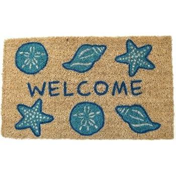 Door Mats   Seashell Coir Welcome Mat   Shell Door Mat   Nautical Doormat