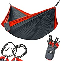 Legit Camping Double Hammock with Nylon Straps and Steel...