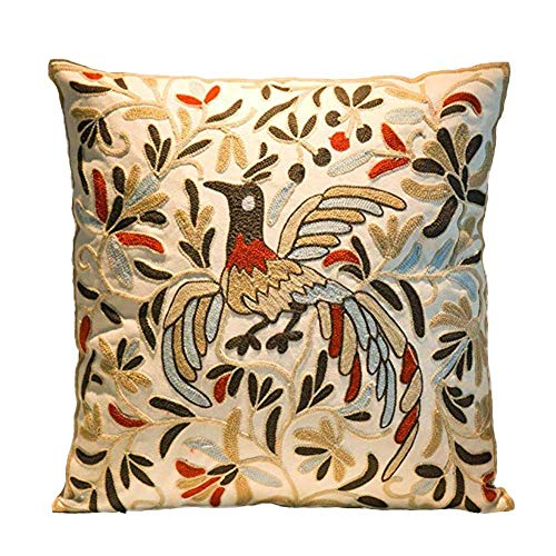 (Cozy Embroidery Cotton Throw Pillow Cover, Phoenix Design Decorative Square Couch Cushion Pillow Sham Case 18 x 18 Inch, Cover Only)