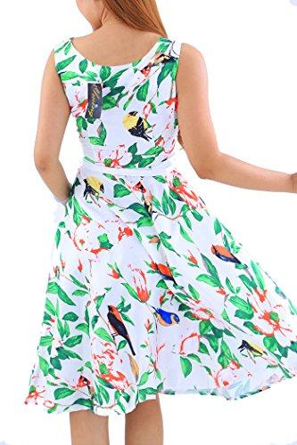 Hepburn de Tienen Pájaros Blanco más Las YMing Estilo tamaño Dijo Verde de la Mujeres oscilación de el del Vendimia Que Vestido Clase qwOf7gCwx