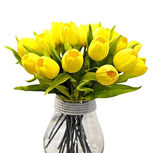 Tulip Yellow 10 Pcs SOLEDI PU Real Touch Artificial Flowers For Bridal  Bouquet Wedding Living Room Table Home Garden Decoration