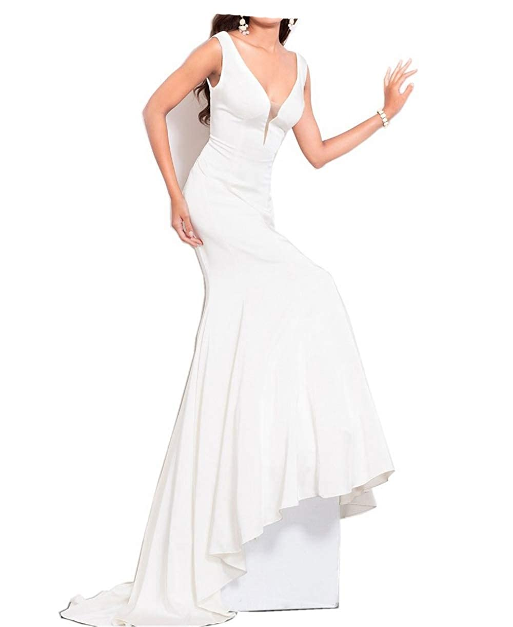 White ANGELA Women's V Neck Mermaid Long Evening Dresses Formal Wedding Party Gowns