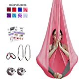 Aum Active Aerial Yoga Hammock - Include Aerial Silk Fabric, Carabiners, Extension Straps, 30-Day Pose Guide - Premium Yoga Swing for Antigravity Exercises, Inversion & Sensory Therapy (Pink)