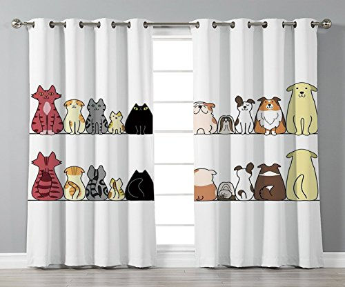 Stylish Window Curtains,Kids,Cats and Dogs Collie Calico Labrador Scottish Shorthair Tabby Shih Tzu Pet Lovers Art Print Decorative,2 Panel Set Window Drapes,for Living Room Bedroom Kitchen Cafe