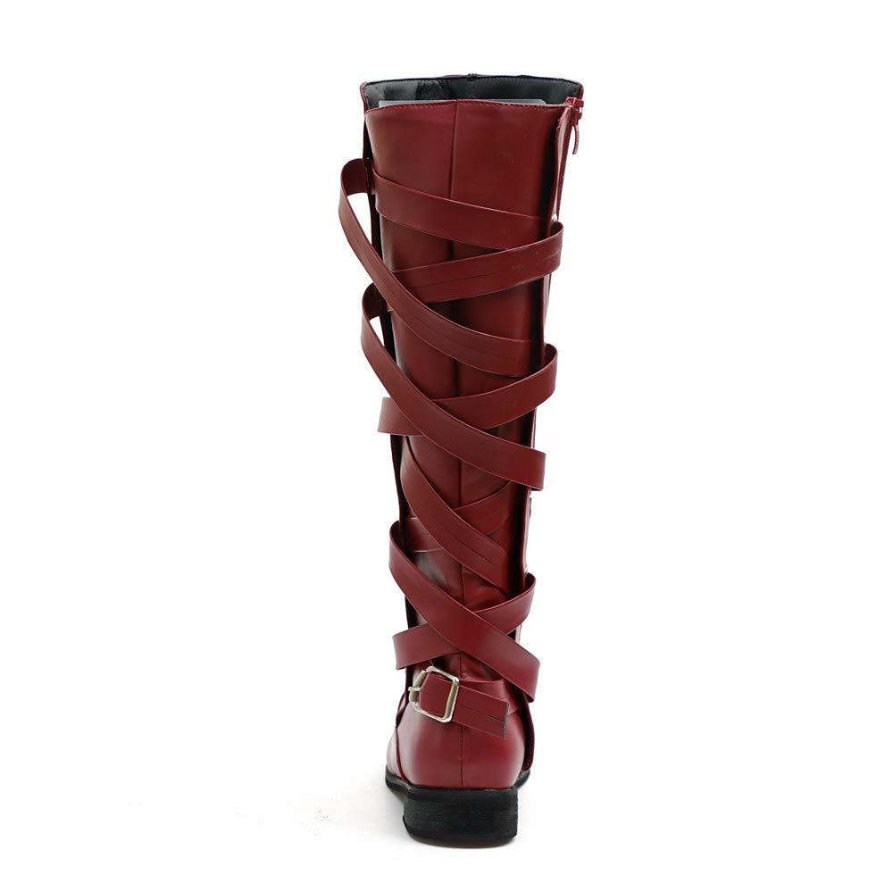 bb4927fa43f AgrinTol Women Ladies Shoes Buckle Roman Riding Knee High Cowboy Boots  Martin Long Boots