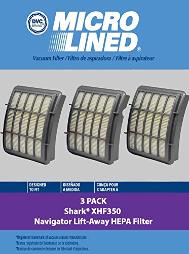 Shark HEPA Filter 3pk | Filter # XHF350 | For use with NV350 Shark Navigator Series by DVC (Dvc Series)