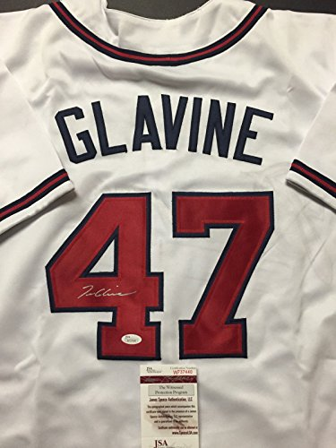 Atlanta Braves Tom (Autographed/Signed Tom Glavine Atlanta Braves White Baseball Jersey JSA COA)