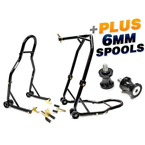 (Venom Motorcycle Front Triple Tree & Rear Swingarm Spool Lift Combo Wheel Lift Stands + Low Profile 6mm Black Swingarm Spools (Fits Most Yamaha Bikes))