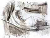 Charcoal drawing Original Artistic sketch Nude Modern Figurative art Woman Wall decor