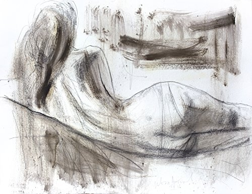 Charcoal drawing Original Artistic sketch Nude Modern Figurative art Woman Wall decor by IvMarART