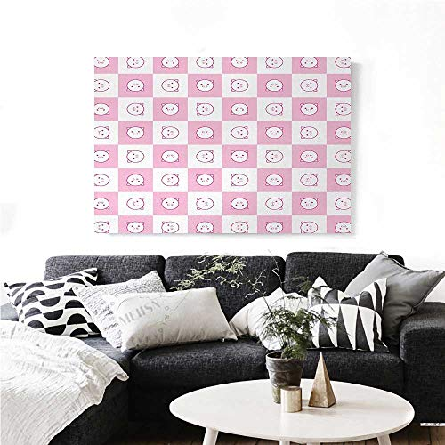 homehot Checkered Canvas Wall Art Squares with Funny