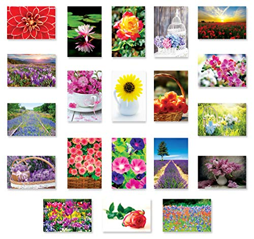 FLOWERS postcard set of 20. Post card variety pack with floral and garden theme postcards. Made in USA.
