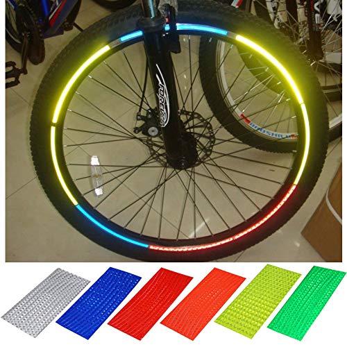 Setmas Waterproof Cycling Wheel Spoke Reflector Kids Adults Bike Reflectors for Mountain Road Silver 20 Sheets