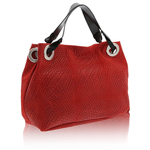 x en véritable 28 x Rouge à Sac Chicca cuir Italy Cm 38 in Made Borse bandoulière 10 femme Ox0Xcf6qw