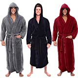 Men's Winter Lengthened Plush Shawl Bathrobe Home Clothes Long Sleeved Seamless Robe Coat (Red, XL Bust:123cm/48.4')
