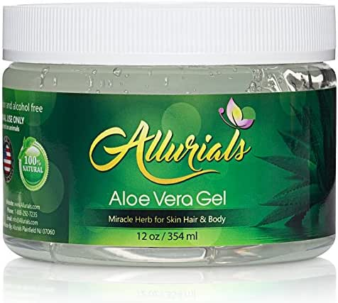 All Natural Aloe Vera Gel - 100% Pure & Organic Aloe Vera Gel Moisturizer - Hydrates & Heals Dry, Itchy & Damaged Skin & Hair - Acne, Sunburn, Rash & Dandruff Relief - 12 Oz - by Allurials