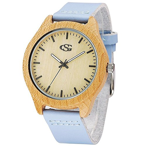 GEORGE SMITH Lady's 45 mm Handmade Wooden Wristwatch with Genuine