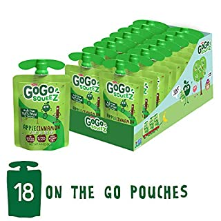 GoGo squeeZ Applesauce, Apple Cinnamon, 3.2 Ounce (18 Pouches), Gluten Free, Vegan Friendly, Unsweetened Applesauce, Recloseable, BPA Free Pouches