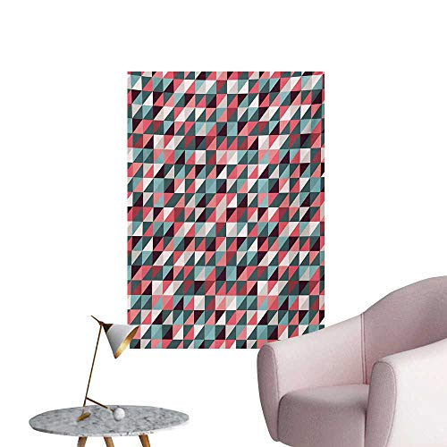 Retro Photographic Wallpaper Geometric Colorful Mosaic Pattern with Half Cut Squares Triangles Hipster Design ArtMulticolor W24 xL36 Poster Print