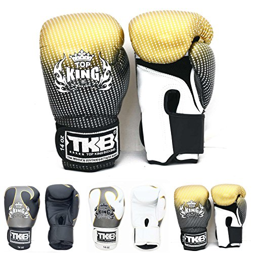 Top King Gloves Color Black White Red Blue Gold Size 8, 10, 12, 14, 16 oz Design Air, Empower, Superstar, and more for Training and Sparring Muay Thai, Boxing, Kickboxing, MMA (Superstar - Gold 16 oz) (Top 10 Best Karate Fighters)