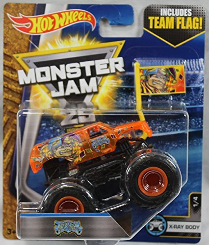 - 2017 Hot Wheels Monster Jam 1:64 Scale Truck with Team Flag - Jester