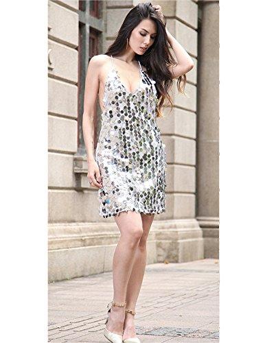 Vestido Mujer IHRKleid® Partido Lentejuelas Vestido Bola Partido Corto Roca Plata