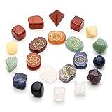 Jovivi Chakra Stones Kits - Healing Crystal w/Engraved Chakra Symbols Holistic Polished Stones,7 Chakra Tumbled Stones,7 Chakra Crystal Plantonic Solids Sacred Geometry Set of 21