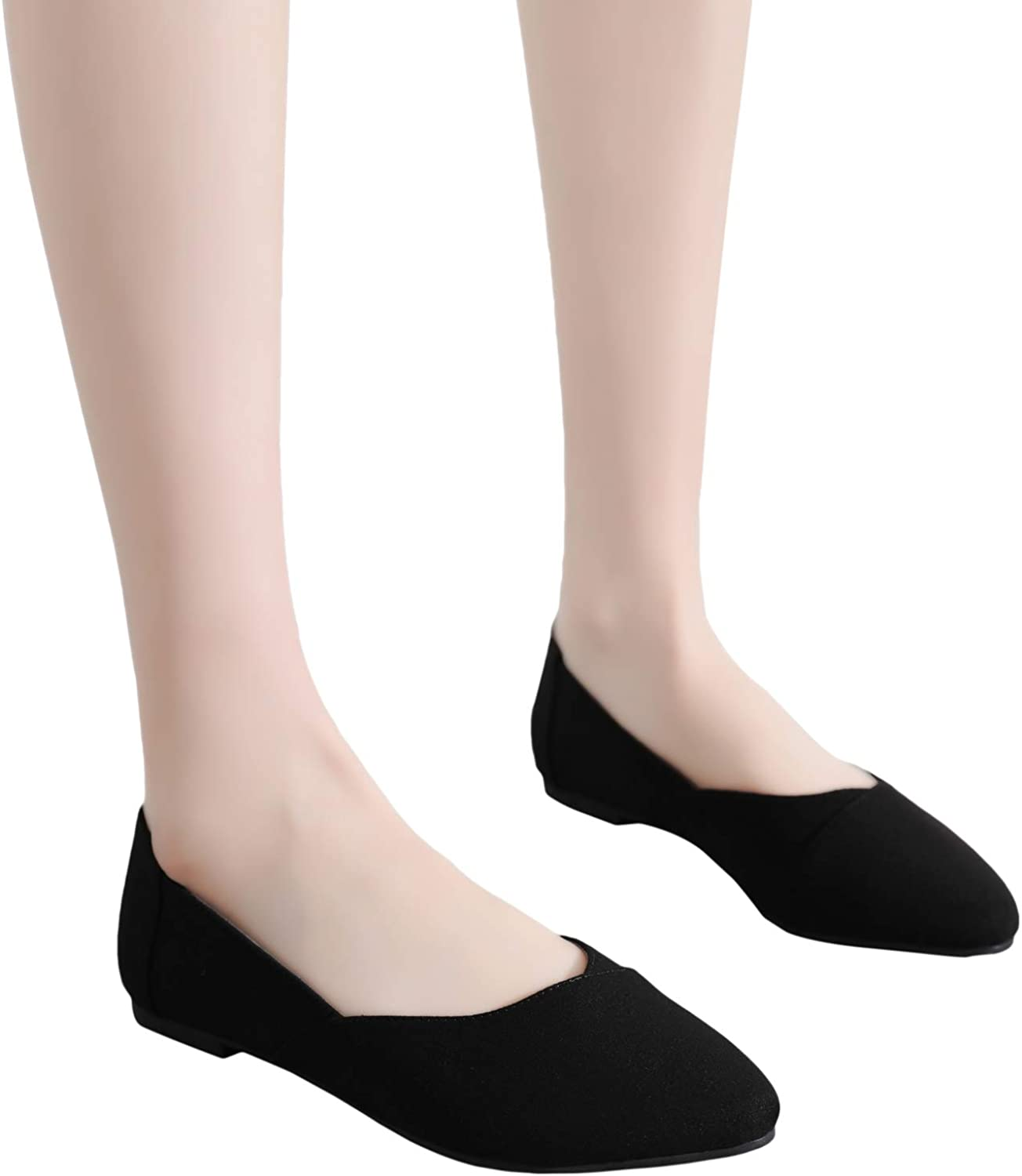 Pointy Toe Fashion Rivets Slip On Cozy Suede Ballet Flats. Ataiwee Womens Wide Width Flat Shoes Black 1905018-2,BK//MF,10.5 Wide