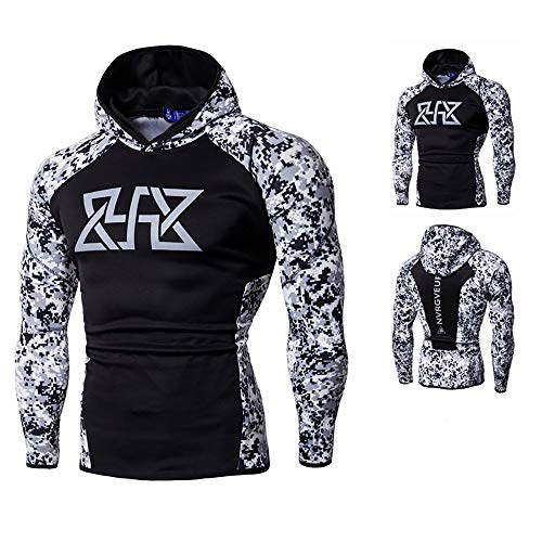Price comparison product image Clearance!Men's Cool Fitness Print Long Sleeves Bodybuilding Skin Tops Hoodie Sweatshirts Blouse