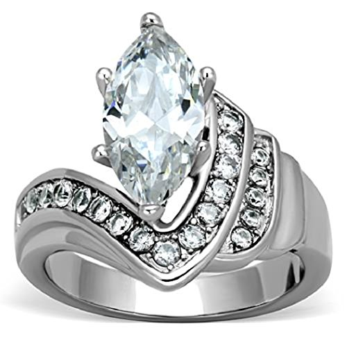 Marshal Imports Women's 3 Carat Marquise-Cut CZ Engagement Ring, Stainless, High Polished, Size 5,6,7,8,9,10 (9)