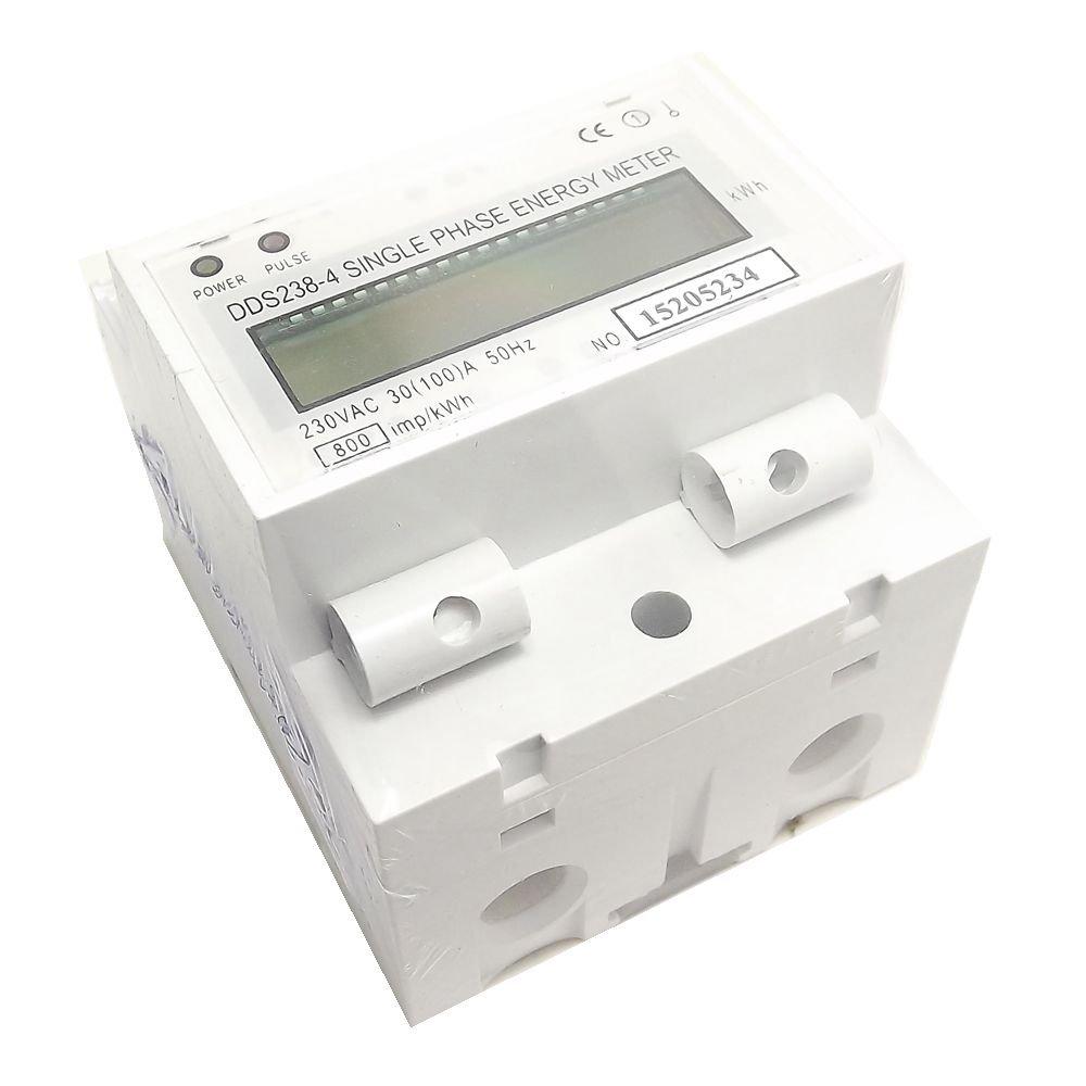 100A 30 230V 50hz Single Phase DIN-rail Type Kilowatt Hour kwh Energy Meter