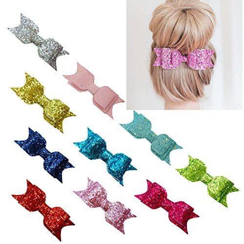 xsby Baby Girls Hair Accessories, 10pcs Sequins hair Bows Clip for baby Girls Hair Accessorie D by xsby