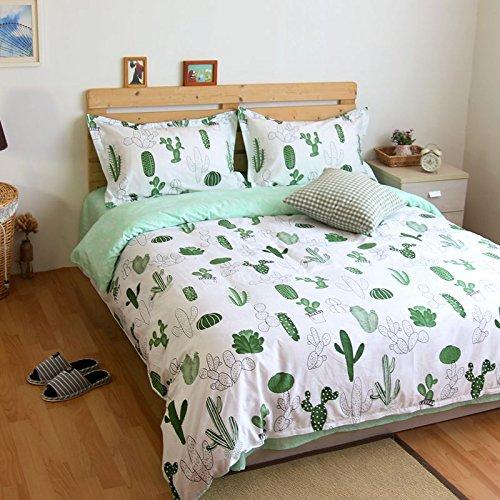 amazoncom lelva cactus print bedding set cotton bedding duvet cover set kids beddng set flat fitted sheet set green 4pcs king flat sheet home - Cactus Bedding