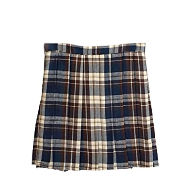 Comaba Women British Style Mini Accordion Pleated A-line Plaid Skirt