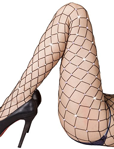 Club Tights (Rhinestone Fishnet Tights Pantyhose Women - Sparkle Sexy Crystal Net Stockings Stretchy Hollow Out Mesh Hosiery Black Large Grid One Size)