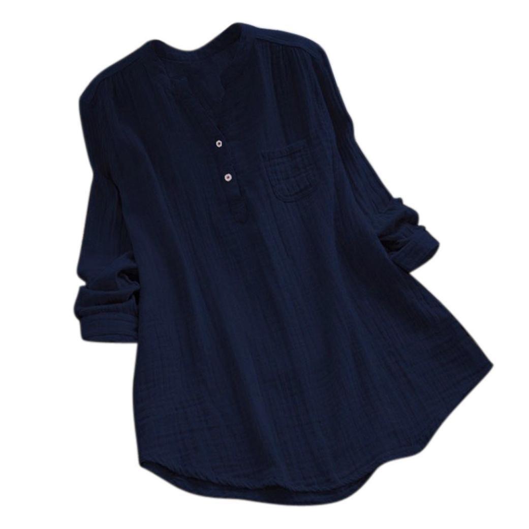 Women Long Sleeve T Shirt,Vanvler { Ladies Tunic Tops } Plus Size Stand Collar Casual Blouse (L4, Navy)