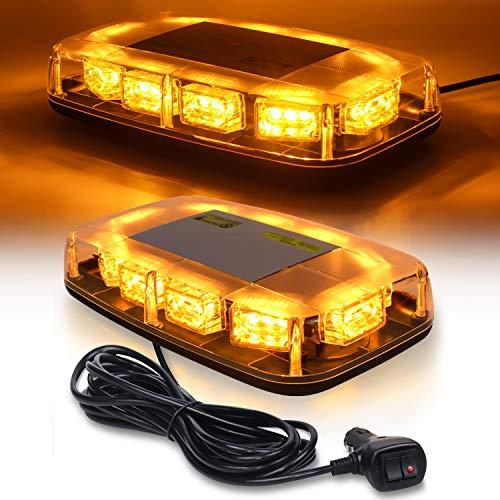 Linkitom LED Strobe Warning Light -30 LED High Intensity Emergency Flashing Lamps/Hazard Warning Mini Lighting Bar/Beacon/with Magnetic Base for Car Trailer Roof Safety (Amber)