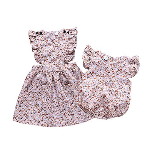 YOUNGER TREE Newborn Toddler Baby Girls Matching Clothes Big Little Sister Floral Dress Romper Skirt Sunsuits Outfits (3-4 Years, Floral Dress Big - For Matching Outfits Girls